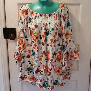 Terra & Sky floral 14W shirt